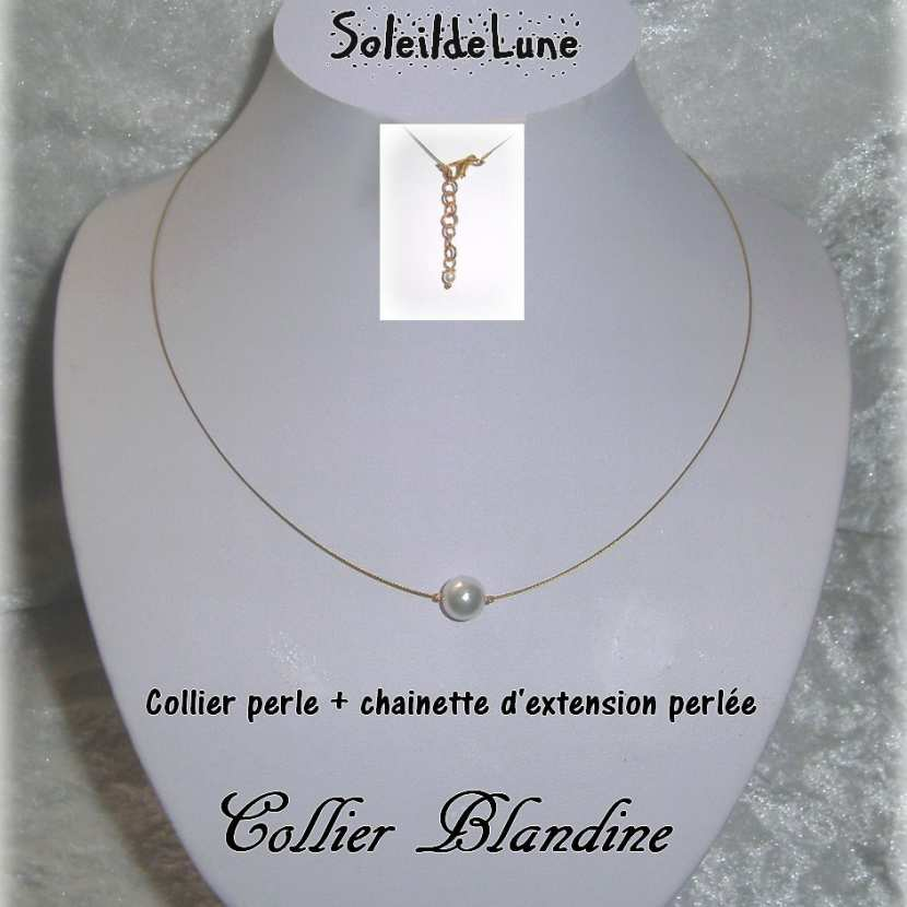 collier perle sur fil transparent