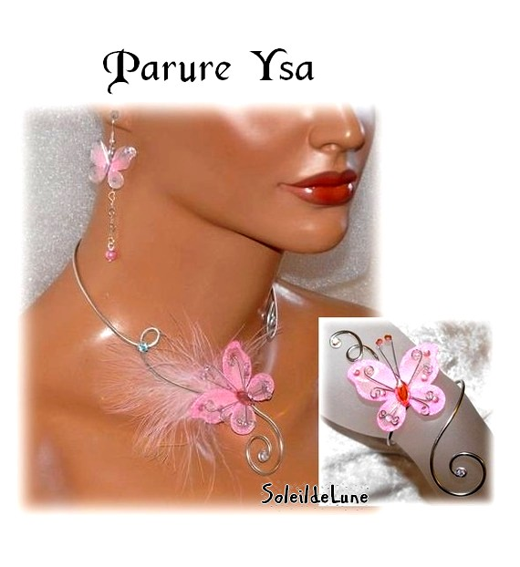 Parure mariage papillons Strass & Plume rose